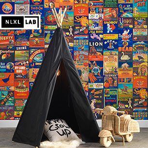 輸入壁紙 NLXL LAB CRATE LABELS PEOPLE & ANIMALS WALLPAPE BY MR & MRS VINTAGE / MRV-07