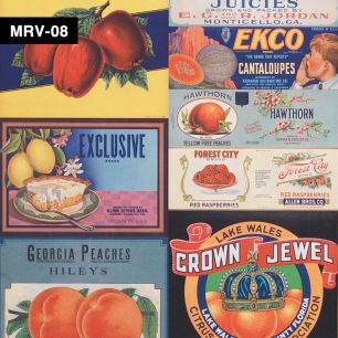 【切売】輸入壁紙 NLXL LAB Mr & Mrs Vintage Crate Labels Fruit & Vegetables Wallpaper / MRV-08