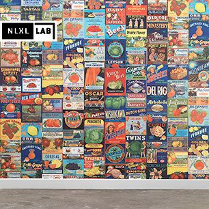 輸入壁紙 NLXL LAB CRATE LABELS FRUIT & VEGETABLES WALLPAPER BY MR & MRS VINTAGE / MRV-08