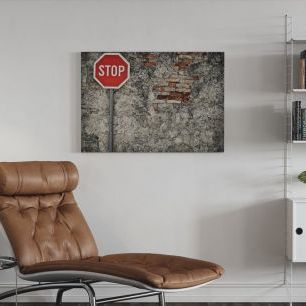 オーダーアートパネル PHOTOWALL / Stop Sign Against Grungy Wall (e21322)