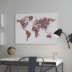 オーダーアートパネル PHOTOWALL / Butterflies World Map Multicolor (e22700)