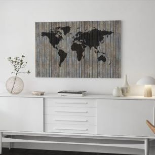 オーダーアートパネル PHOTOWALL / World Map Wooden Plank - Old Silver (e40225)