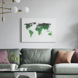 オーダーアートパネル PHOTOWALL / World Map Metal Sheet - Green (e25055)