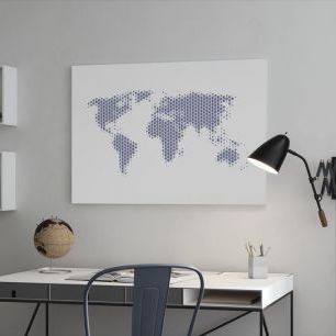 オーダーアートパネル PHOTOWALL / World Map Metal Sheet- Steel (e25056)