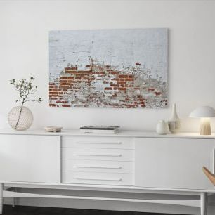 オーダーアートパネル PHOTOWALL / Red Brick Wall with Sprinkled White Plaster (e40677)