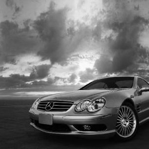 輸入壁紙 カスタム壁紙 PHOTOWALL / Mercedes-Benz SL55 - b/w (e6328)