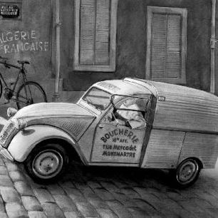 輸入壁紙 カスタム壁紙 PHOTOWALL / Citroen In Paris - b/w (e12037)