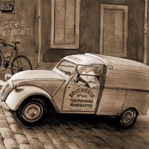 輸入壁紙 カスタム壁紙 PHOTOWALL / Citroen In Paris - Sepia (e12038)