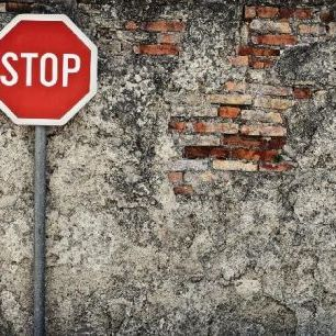 輸入壁紙 カスタム壁紙 PHOTOWALL / Stop Sign Against Grungy Wall (e21322)
