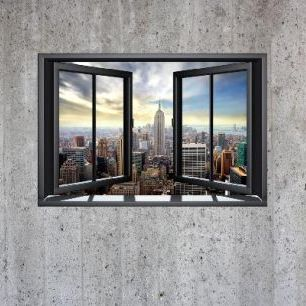 輸入壁紙 カスタム壁紙 PHOTOWALL / New York Through Window - Concrete Wall (e22319)
