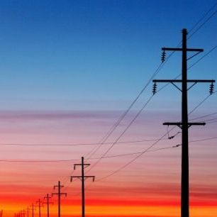 輸入壁紙 カスタム壁紙 PHOTOWALL / Power Lines at Sunset (e20364)