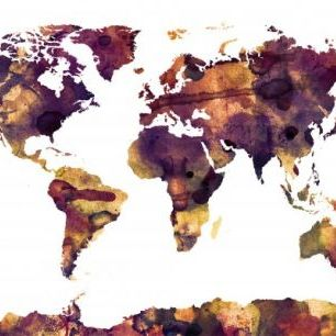 輸入壁紙 カスタム壁紙 PHOTOWALL / Watercolor World Map Purple (e22677)