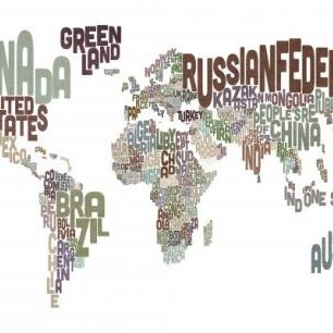 輸入壁紙 カスタム壁紙 PHOTOWALL / Typographic Text World Map Brown (e22678)