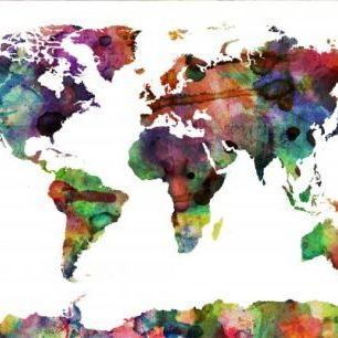 輸入壁紙 カスタム壁紙 PHOTOWALL / Watercolor World Map Multicolor (e22680)
