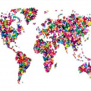 輸入壁紙 カスタム壁紙 PHOTOWALL / Butterflies World Map Multicolor (e22700)