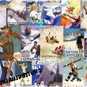 輸入壁紙 カスタム壁紙 PHOTOWALL / Ski Resorts Collage (e22981)