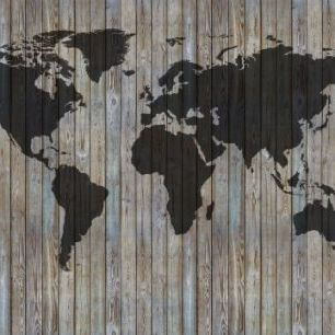 輸入壁紙 カスタム壁紙 PHOTOWALL / World Map Wooden Plank - Old Silver (e40225)