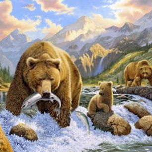 輸入壁紙 カスタム壁紙 PHOTOWALL / Bear Salmon Fishing (e21703)