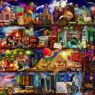 輸入壁紙 カスタム壁紙 PHOTOWALL / World Travel Book Shelf (e22916)
