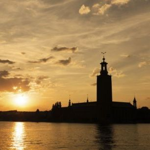 輸入壁紙 カスタム壁紙 PHOTOWALL / Stockholm City Hall in Sillhouette (e25260)
