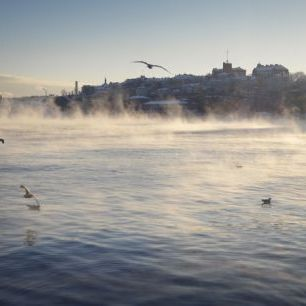 輸入壁紙 カスタム壁紙 PHOTOWALL / Fog over Stadsgardskajen in Stockholm (e29965)