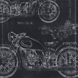 輸入壁紙 カスタム壁紙 PHOTOWALL / Motorcycle Blueprint - Grey (e30078)