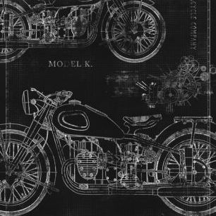 輸入壁紙 カスタム壁紙 PHOTOWALL / Motorcycle Blueprint - Black (e30079)