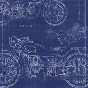 輸入壁紙 カスタム壁紙 PHOTOWALL / Motorcycle Blueprint (e30080)