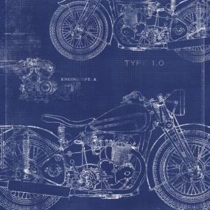 輸入壁紙 カスタム壁紙 PHOTOWALL / Motorcycle Blueprint 2 (e30081)