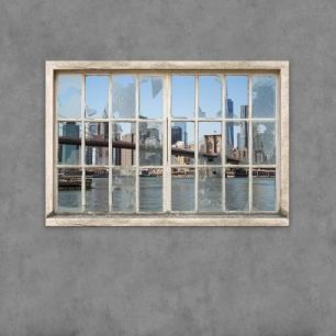 輸入壁紙 カスタム壁紙 PHOTOWALL / View from Basement Windows - Brooklyn Bridge (e30235)