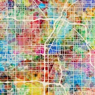 輸入壁紙 カスタム壁紙 PHOTOWALL / Las Vegas Street Map Multicolour (e50087)