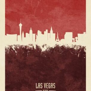 輸入壁紙 カスタム壁紙 PHOTOWALL / Las Vegas Nevada Skyline Red (e310741)