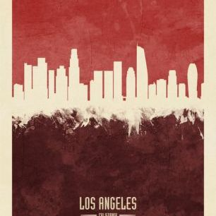 輸入壁紙 カスタム壁紙 PHOTOWALL / Los Angeles California Skyline Red (e310743)