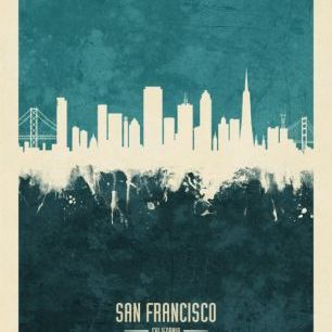 輸入壁紙 カスタム壁紙 PHOTOWALL / San Francisco California Skyline Blue (e310744)