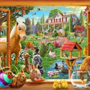 輸入壁紙 カスタム壁紙 PHOTOWALL / Animals in the garden (e312336)