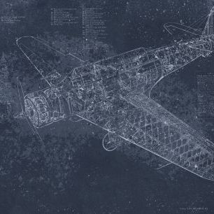 輸入壁紙 カスタム壁紙 PHOTOWALL / Retro Airplane - Dark Blue (e319212)