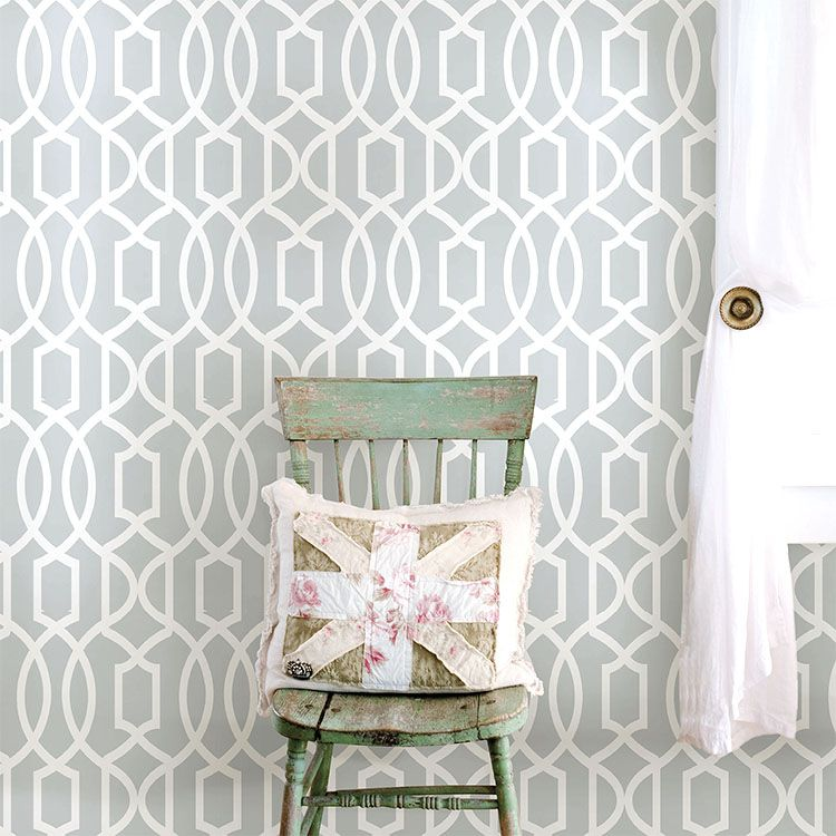 はがせる 壁紙 シール 「NUWALLPAPER」 Gray Grand Trellis Peel And Stick Wallpaper / NU1421