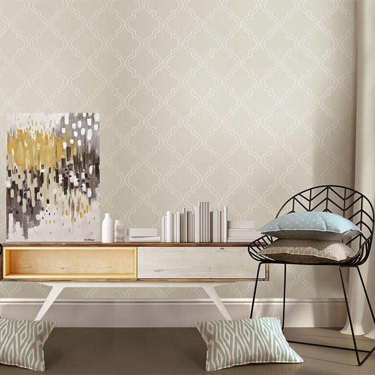 はがせる 壁紙 シール 「NUWALLPAPER」 Taupe Quatrefoil Peel And Stick Wallpaper / NU1425