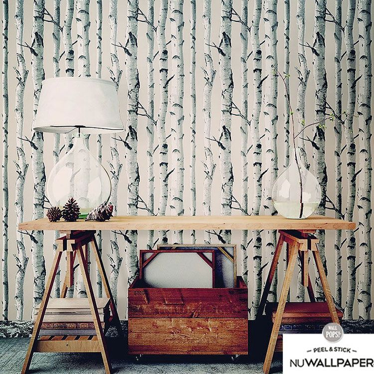 はがせる 壁紙 シール 「NUWALLPAPER」 Birch Tree Peel And Stick Wallpaper / NU1650(NU3128)