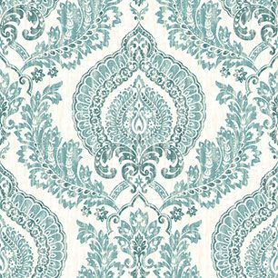 【サンプル】はがせる 壁紙 シール 「NUWALLPAPER」 Kensington Damask Blue Peel and Stick WALLPAPER / NU1702