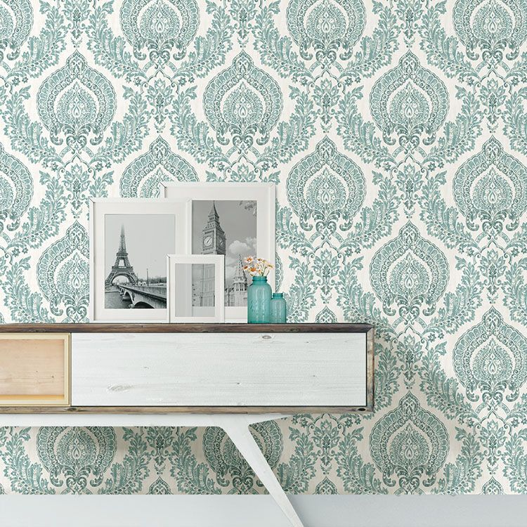はがせる 壁紙 シール 「NUWALLPAPER」 Kensington Damask Blue Peel and Stick Wallpaper / NU1702