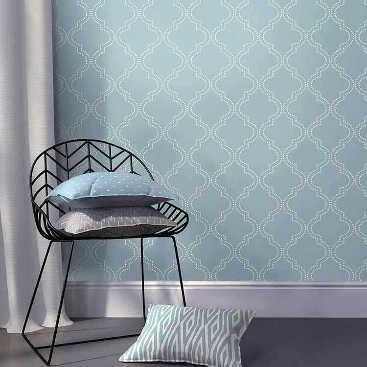 はがせる 壁紙 シール 「NUWALLPAPER」 Slate Blue Quatrefoil Peel And Stick Wallpaper / NU1826