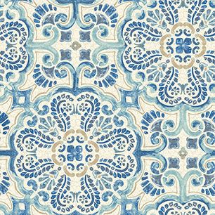 【サンプル】はがせる 壁紙 シール 「NUWALLPAPER」 Blue Florentine Tile Peel and Stick WALLPAPER / NU2235