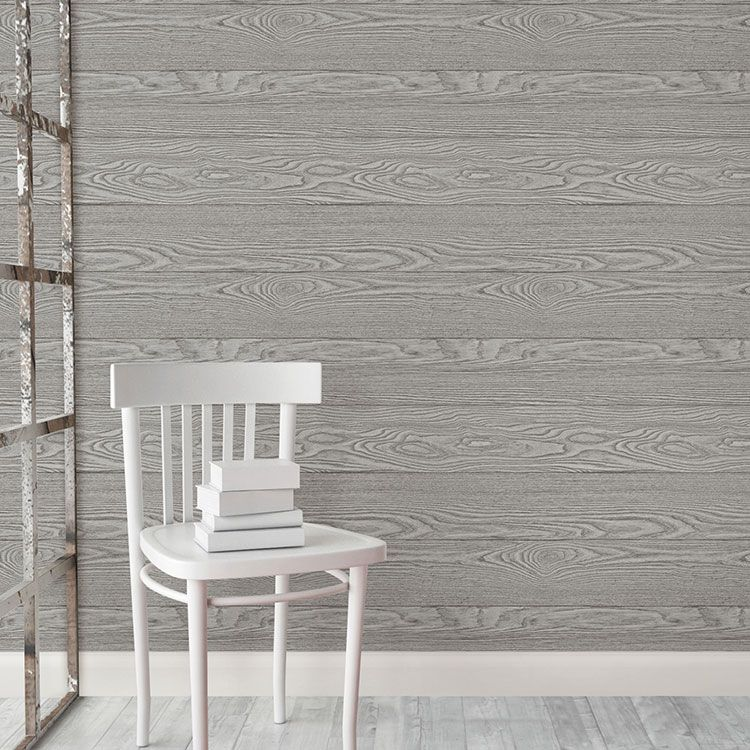 はがせる 壁紙 シール 「NUWALLPAPER」 Grey Salvaged Wood Peel And Stick Wallpaper / NU2240