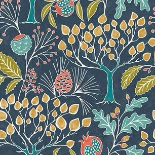 【サンプル】はがせる 壁紙 シール 「NUWALLPAPER」 Groovy Garden Navy Peel & Stick Wallpaper / NU3038