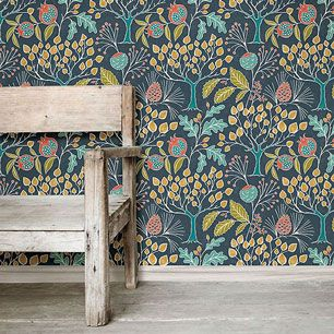 はがせる 壁紙 シール 「NUWALLPAPER」 Groovy Garden Navy Peel & Stick Wallpaper / NU3038