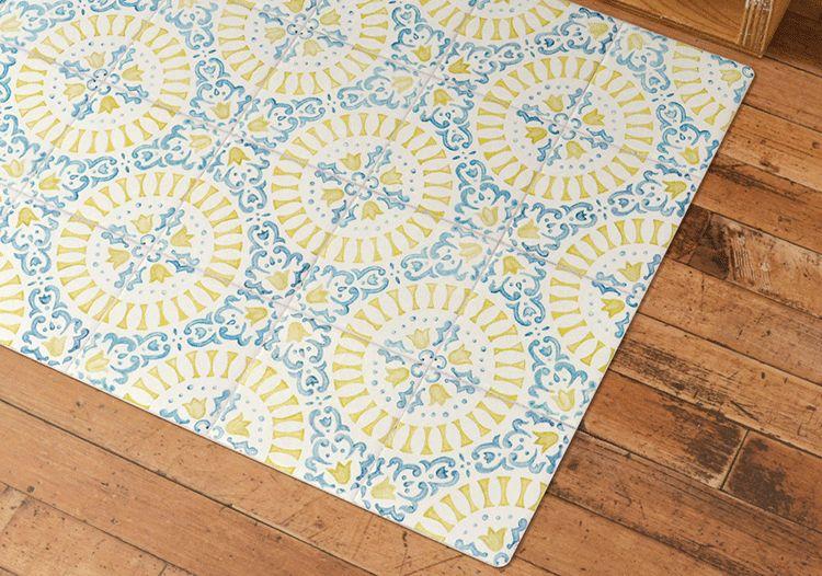 Antique Tile Lemon×Blue さわやかなカラーのアンティークタイルデザイン